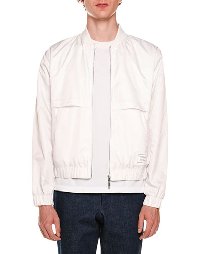Mesh-Trim Zip-Front Bomber Jacket