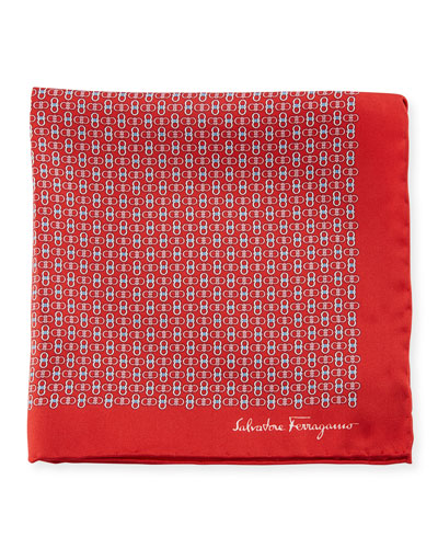 Solid-Border Gancini Silk Pocket Square, Red