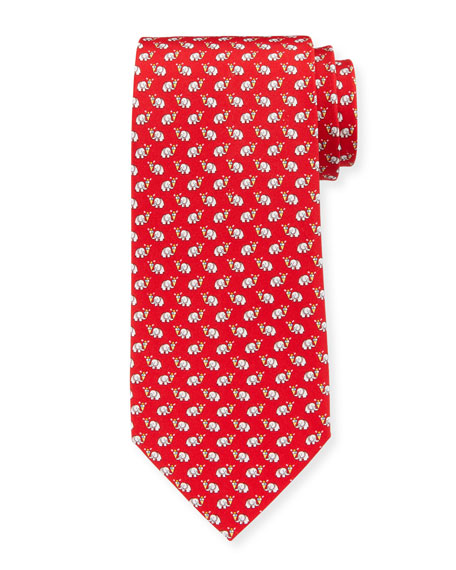 Salvatore Ferragamo Elephants with Ice Cream Silk Tie,