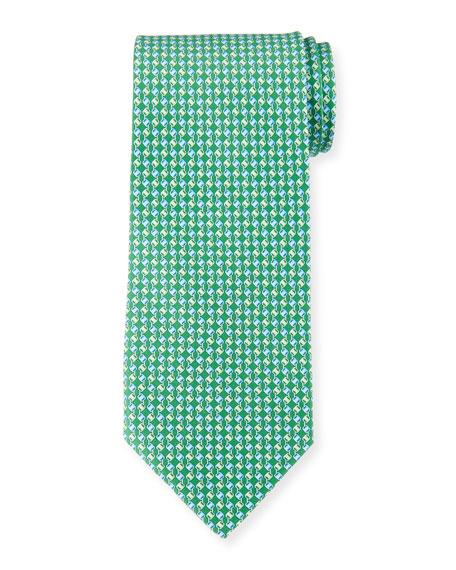 Salvatore Ferragamo Chain Stripe Silk Tie