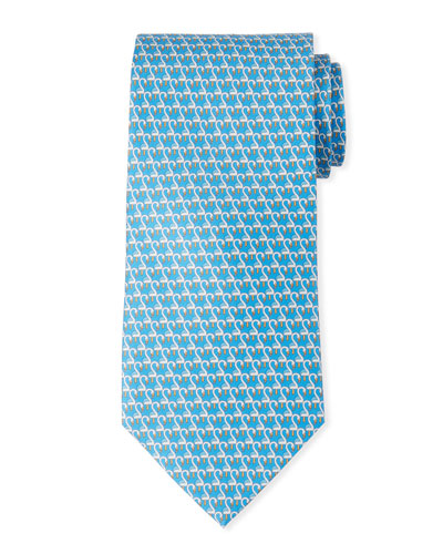 Flamingo Silk Tie, Blue
