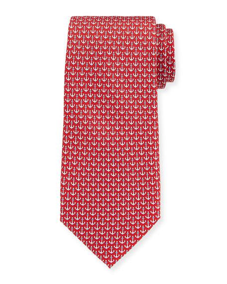 Salvatore Ferragamo Anchors Silk Tie, Red
