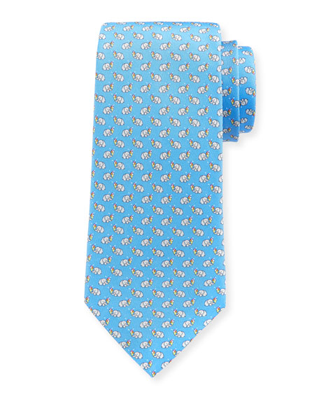 Elephants with Ice Cream Silk Tie, Light Blue