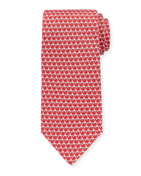 Salvatore Ferragamo Flamingos Silk Tie, Red