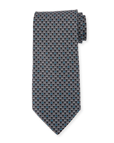 Interlocking Gancini Silk Tie, Black