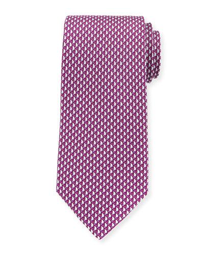 Sailboats Silk Tie, Pink