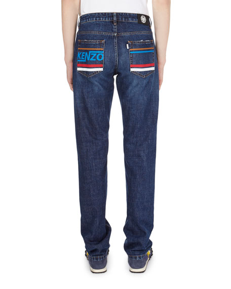Washed Straight-Leg Denim Jeans