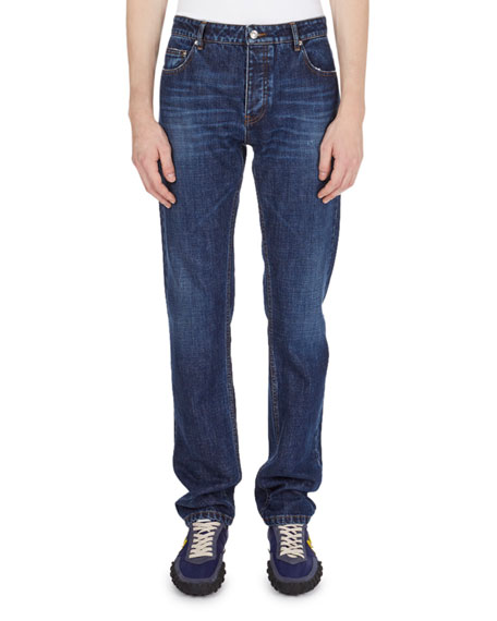 Washed Straight-Leg Denim Jeans