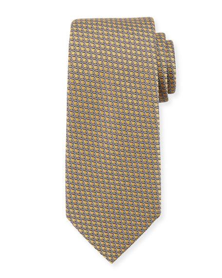 Ermenegildo Zegna Chain Link Silk Tie, Yellow