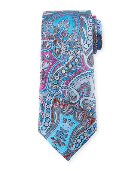 Ermenegildo Zegna Quindici Paisley Silk Tie, Gray
