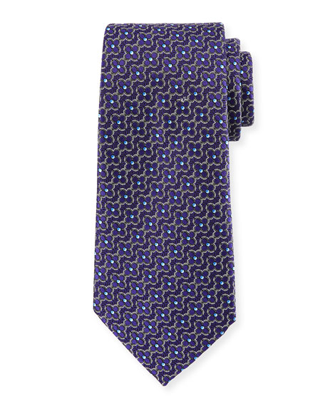 Connected Flower Silk Tie, Purple