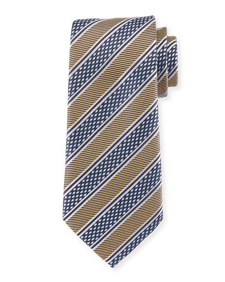 Ermenegildo Zegna Diamond Stripe Silk Tie, Yellow