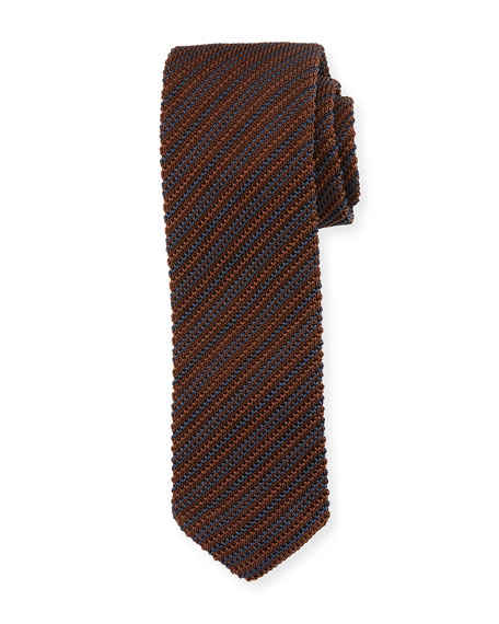 Ermenegildo Zegna Striped Silk Knit Tie