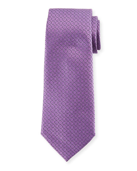 Connected Diamond Silk Tie, Purple