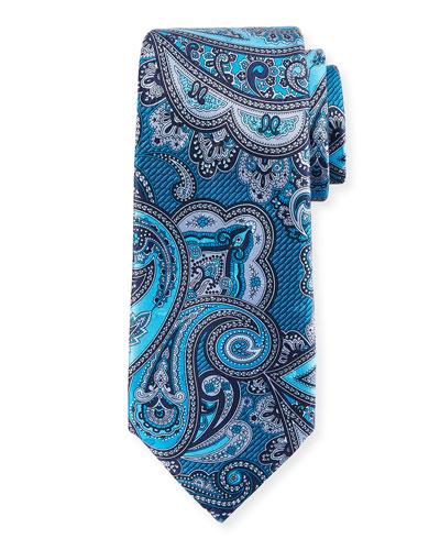 Paisley Silk Tie  Blue