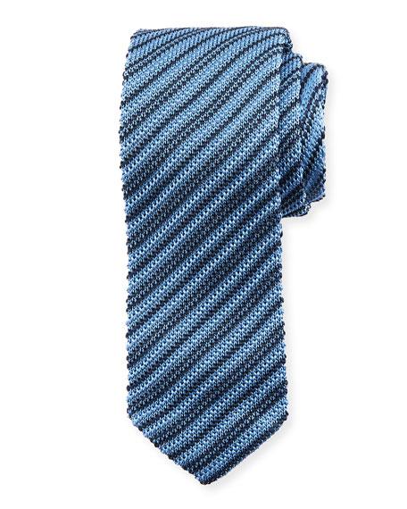 Skinny Striped Knit Silk Tie