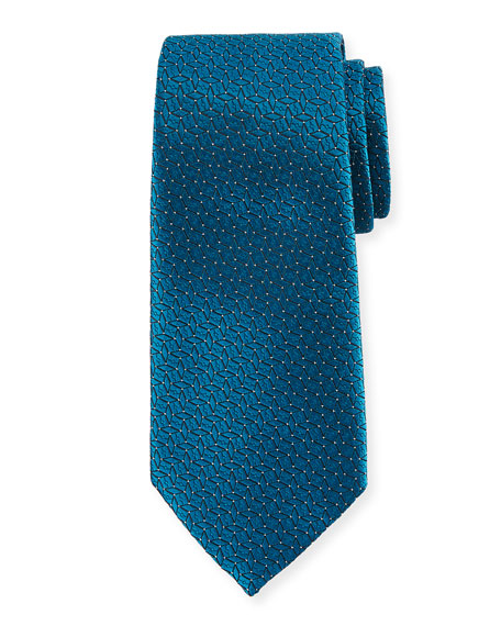 Ermenegildo Zegna Connected Diamond Silk Tie, Blue