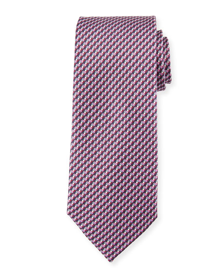 Ermenegildo Zegna Printed Stairs Silk Tie, Pink