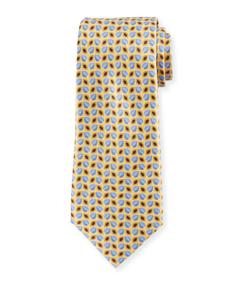 Alternating Leaves Silk Tie, Yellow