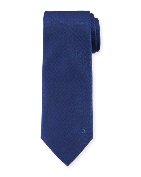 Salvatore Ferragamo Textured Solid Silk Tie, Blue