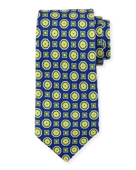 Medallion-Print Silk Tie, Navy/Green