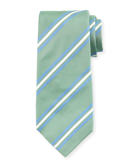 Framed Striped Silk Tie