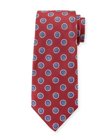 Circles-Pattern Silk Tie