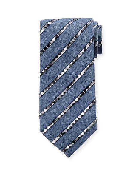 Diagonal Striped Silk Tie