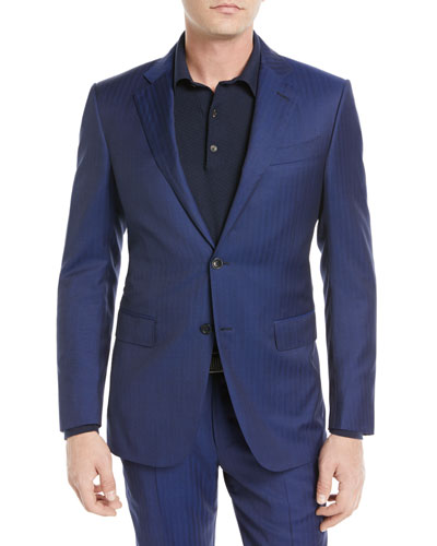 Herringbone Two-Piece Wool Suit