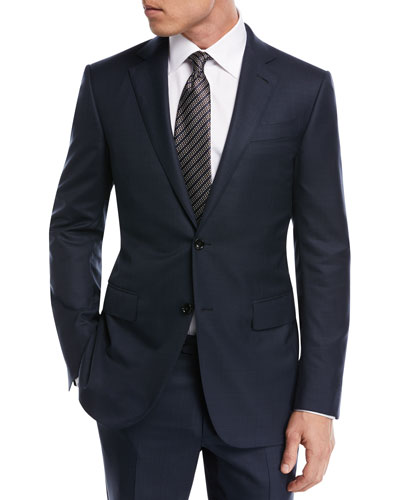 Tonal Plaid Wool Two-Piece Suit