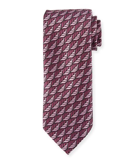 Ermenegildo Zegna Woven Leaves Silk Tie, Purple