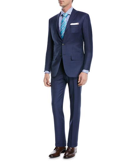 Sharkskin Wool Two-Piece Three-Button Suit