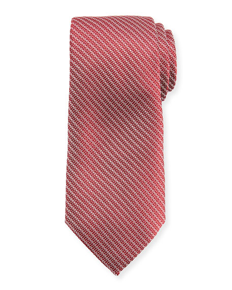 Ermenegildo Zegna Diagonal Chain Silk Tie, Red