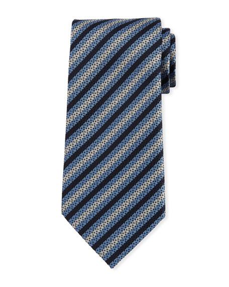 Diamond-Striped Silk Tie