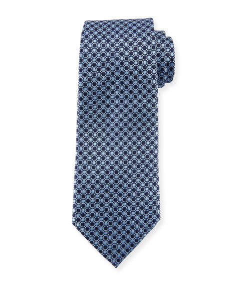 Ermenegildo Zegna Connected Circles Silk Tie, Blue