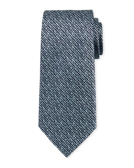 Grafiato Checked Silk Tie