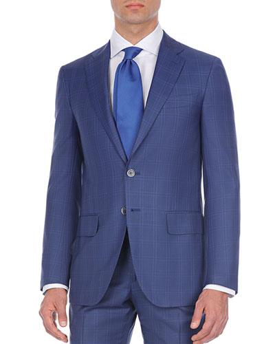 Double-Windowpane Two-Piece Wool Suit