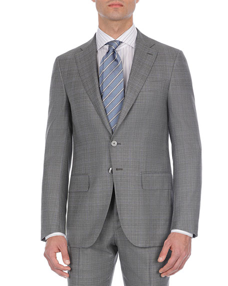 Isaia Double-Windowpane Two-Piece Wool Suit, Gray
