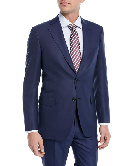 Solid Box-Weave Wool Two-Piece Suit