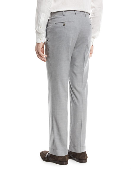 High Performance Wool Flannel Flat-Front Trousers