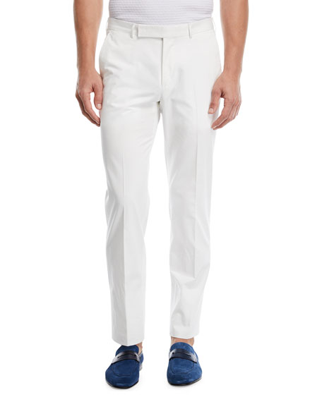 Ermenegildo Zegna Cotton Twill Flat-Front Trousers