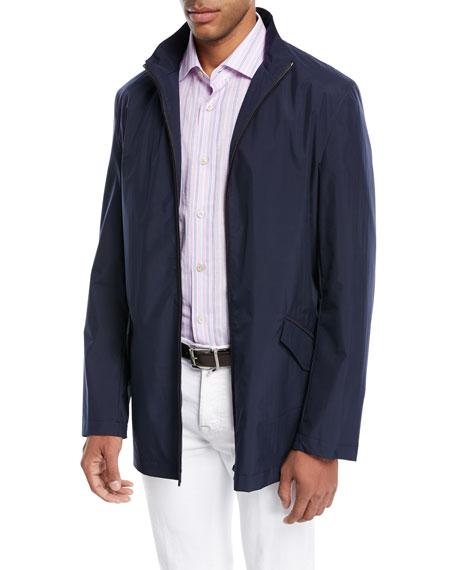 Zip-Front Jacket with Pack-Away Hood