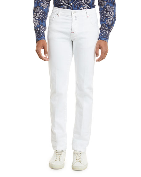 Denim Five-Pocket Jeans, White