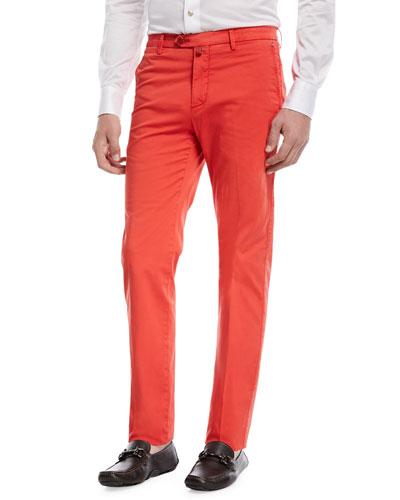 Slim-Straight Flat-Front Chino Pants