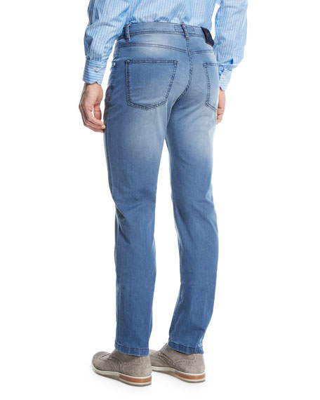 Light-Wash Denim Straight-Leg Jeans