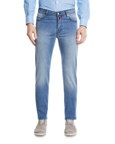 Light-Wash Denim Straight-Leg Jeans
