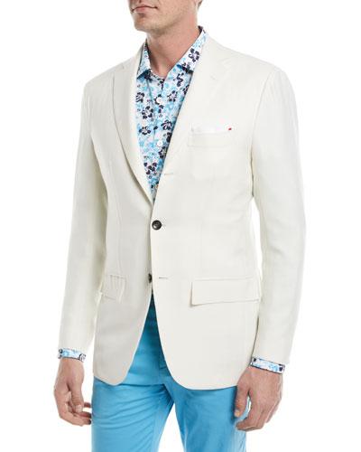 Cashmere-Silk Three-Button Blazer
