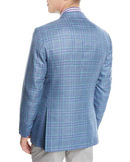 Plaid Cashmere-Blend Two-Button Sport Coat