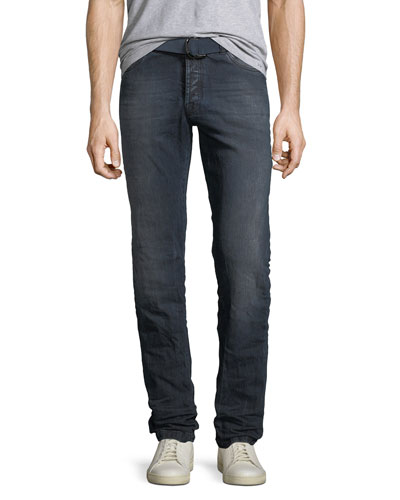 Men's Limited Edition Dark-Wash Straight-Leg Jeans with D-Ring Belt