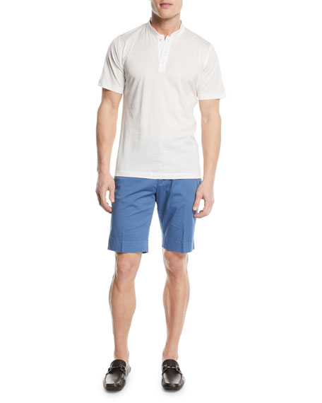 Washed Twill Slim-Straight Shorts